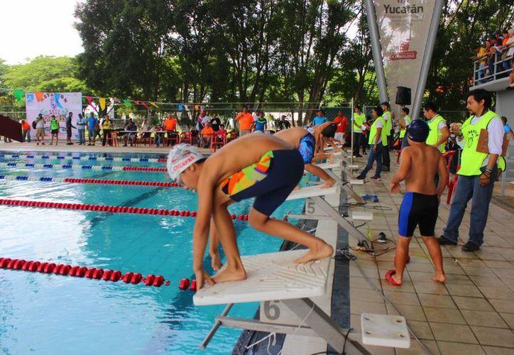 Imagen de la competencia de la XXX edición de la Copa Maya de Natación que se realizó en la Unidad Deportiva Kukulcán. (Milenio Novedades)