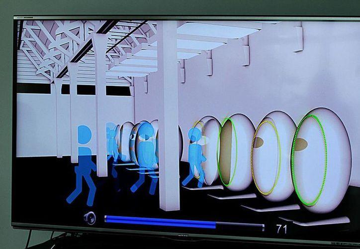 """Presentación de la cápsula """"Proyecto K107"""", de Reynaldo Vela Coreño, el 18 de septiembre de 2015 en la ciudad de México, que tiene como objetivo salvar vidas durante un sismo o tsunami. (Fotos: Bernardo Moncada/Notimex)"""