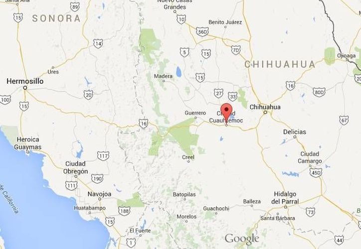 El cuerpo de Mario Caldera Nungaray, funcionario del PRI y de Sedesol , fue hallado a la altura del kilómetro 54 de la carretera Chihuahua-Cuauhtémoc. (Google Maps)