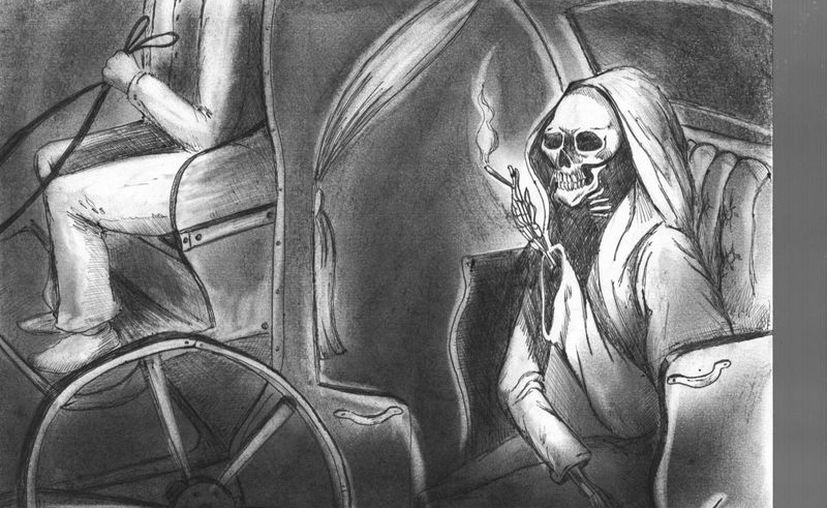 Representación artística de lo que le ocurrió a don Medardo mientras llevaba a su misteriosa pasajera. (Jorge Moreno/SIPSE)