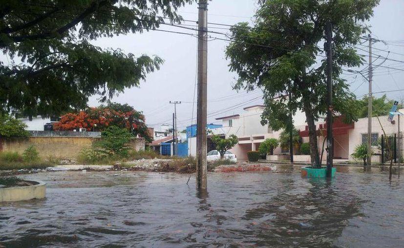 Reportan inundaciones parciales en la avenida Bonampak. (Redacción/SIPSE)