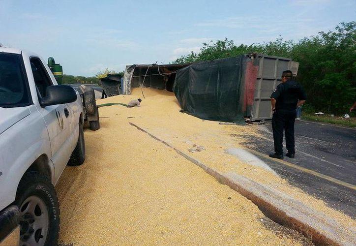 En la vía quedaron 'regadas' las toneladas de maíz que llevaba el trailer. (Cortesía de Hector Ruben Moreno Portilla)