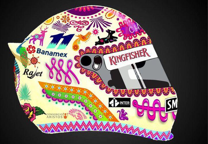 """'Amor Eterno', de Juan Francisco Sánchez Zeferino, es el ganador del concurso """"El Arte de la Velocidad"""", y será el casco que utilizará en las actividades promocionales del próximo Gran Premio de México. (Notimex)"""