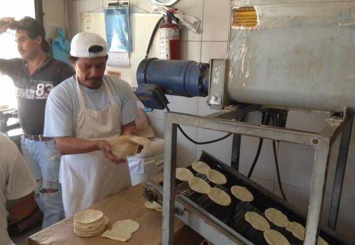 El precio de la tortilla en Mérida subió tres pesos y se comenzó a ofertar este año hasta en 18 pesos. Imagen de contexto de un empleado de una tienda de este ramo. (Milenio Novedades)