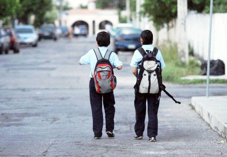 Recomiendan mochilas adecuadas al tamaño del infante. (Milenio Novedades)