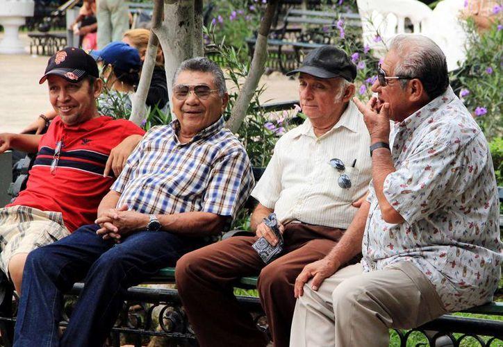 Abuelitos descansan en la Plaza Grande de Mérida. (Wilbert Argüelles/SIPSE)