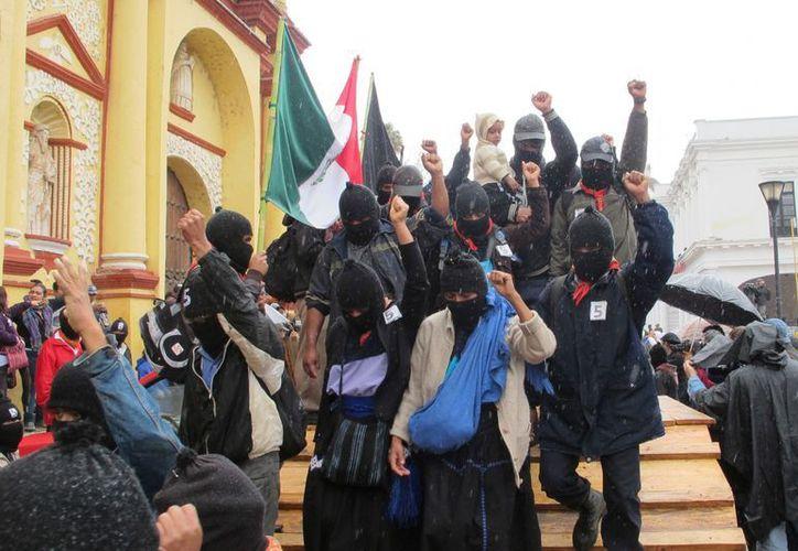 Manifestación de los integrantes del EZLN. (Archivo Notimex)