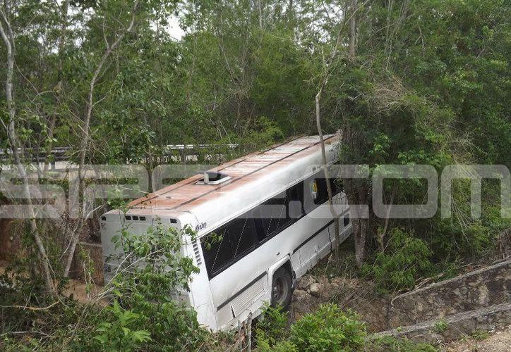 El autobús quedó atravesado en un paso ganadero. (L. Domínguez/ SIPSE)
