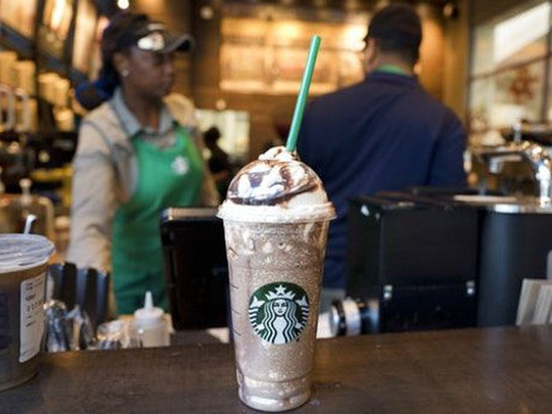 A Venti Mocha Frappuccino is displayed at a Starbucks, in New York.