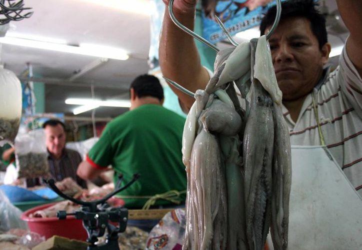 En la imagen, un vendedor de pulpo, quien afirma que ya se estabilizó el precio del molusco en esta temporada. (Milenio Novedades)