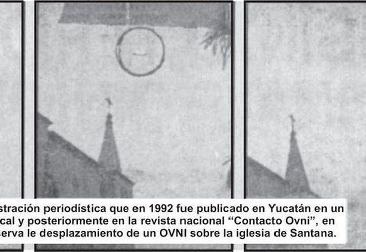 Secuencia de fotos que fueron publicadas a nivel nacional del ovni de Santa Ana. (Jorge Moreno/SIPSE)