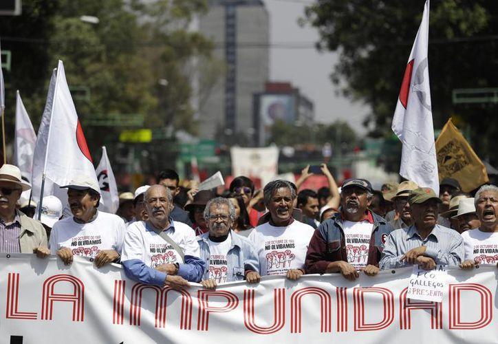 La policía de la Ciudad de México reportó saldo blanco tras la movilización por el 2 de octubre. (AP/Rebecca Blackwell)