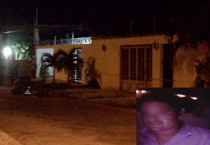 El domicilio en el que fue hallado el cuerpo de Ángel Rodríguez Ku, quien era profesor en una escuela de Calotmul. (Especial)