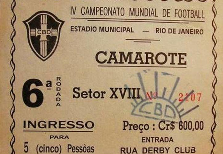 Este es el ticket que durante 64 años conservó en buen estado  Joedir Sancho Belmonte. (todocoleccion.net)
