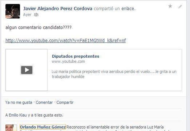Usuarios de Facebook 'obligaron' al candidato del PRD a la alcaldía de Solidaridad, Orlando Muñoz, a emitir una postura por el escándalo 'Lady Aerobús'