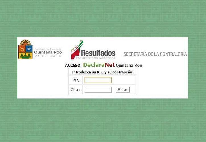 El sistema Declaranet, se encuentra alojado en el portal electrónico de la Secretaría de la Contraloría. (Redacción/SIPSE)