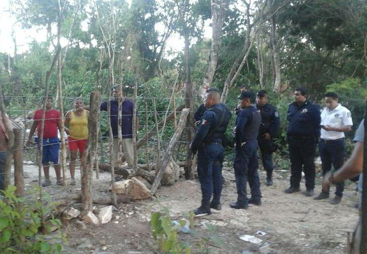 Policía Ministerial atendió las denuncias de los vecinos en la zona invadida Ok´kot. (Foto: Sara Cauich)