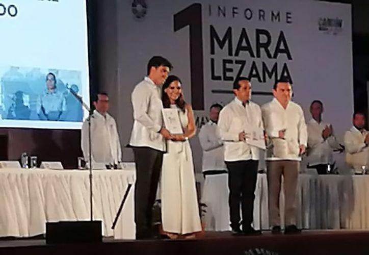 El informe de labores se llevó a cabo frente al Ayuntamiento de Benito Juárez. (Juan Pablo Torres Limón)