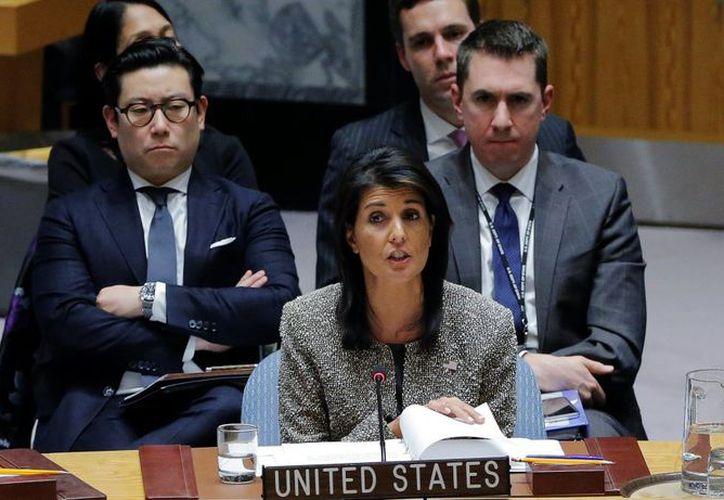 Haley, embajadora estadounidense ante la ONU, insistió en que su país no quiere un conflicto armado. (Foto: Televisa News)