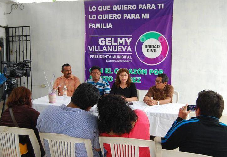 Gelmy Villanueva Bojórquez ofreció una conferencia de prensa. (Tomás Álvarez/SIPSE)