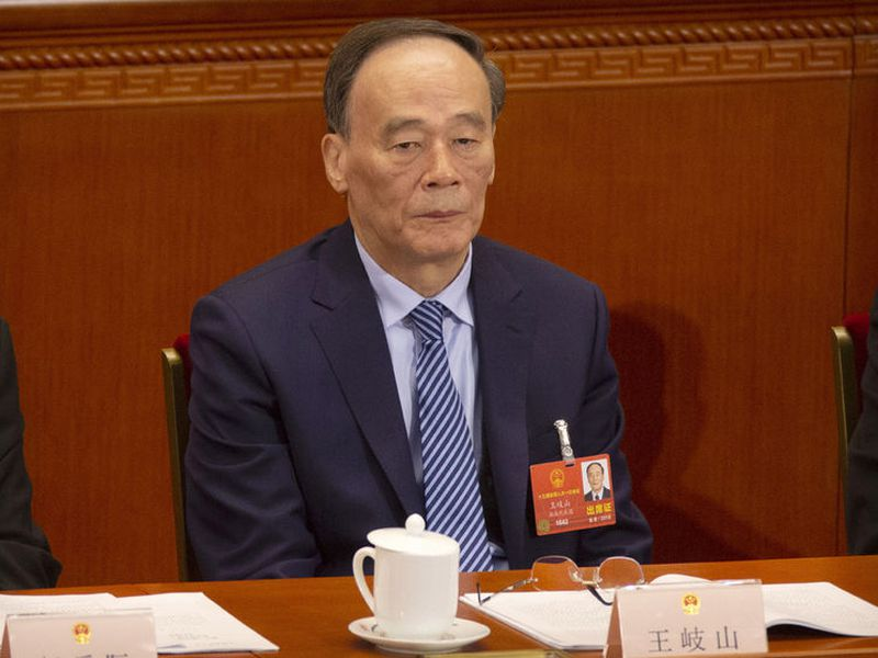 Wang Qishan attends a plenary session of China's National People's Congress.
