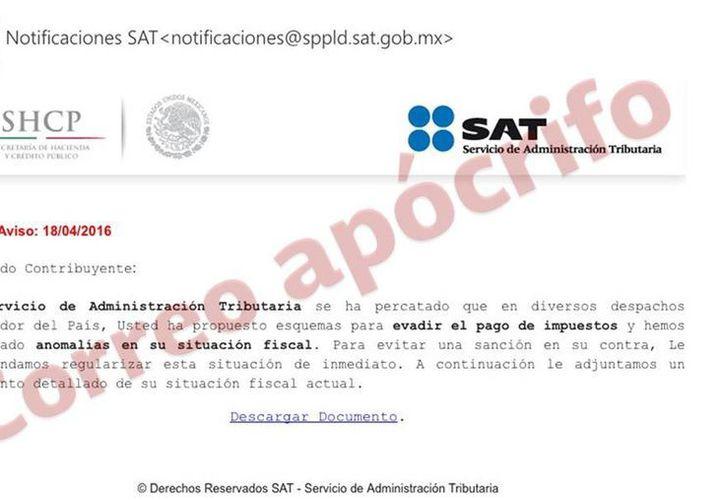 El SAT pide a los contribuyentes estar alertas ante los correos apócrifos. (facebook.com/satmexico)