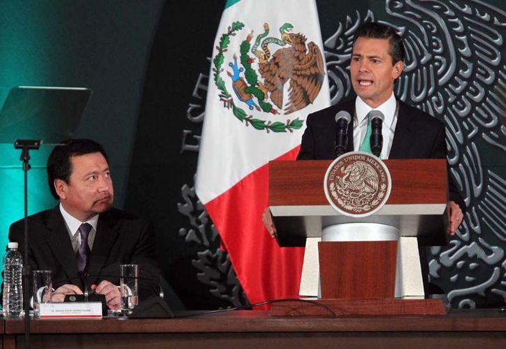 Al encabezar la 35 Sesión del Consejo Nacional de Seguridad Pública en Palacio Nacional, el presidente Enrique Peña Nieto dijo que la aplicación de la ley está dando buenos resultados. (Notimex)