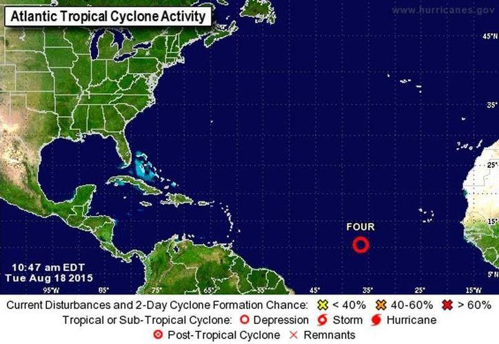 La cuarta depresión tropical de la Temporada de Huracanes 2015 surgió esta mañana en el océano Atlántico. Se espera que tome fuerza en las próximas horas. (NOAA)