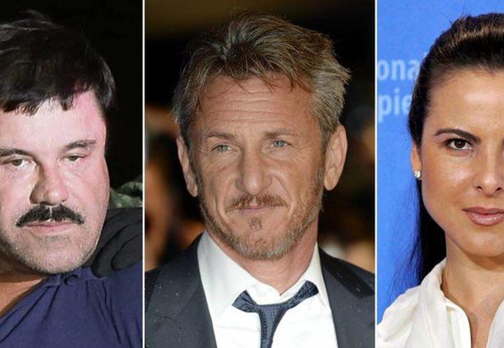 Combo fotográfico del capo Joaquin 'El Chapo' Guzman, el actor estadounidense Sean Penn y la actriz mexicana Kate del Castillo. Ellos tres tuvieron un encuentro cordial, seguro y lleno de comida en el rancho del narco en Sinaloa. (EFE)
