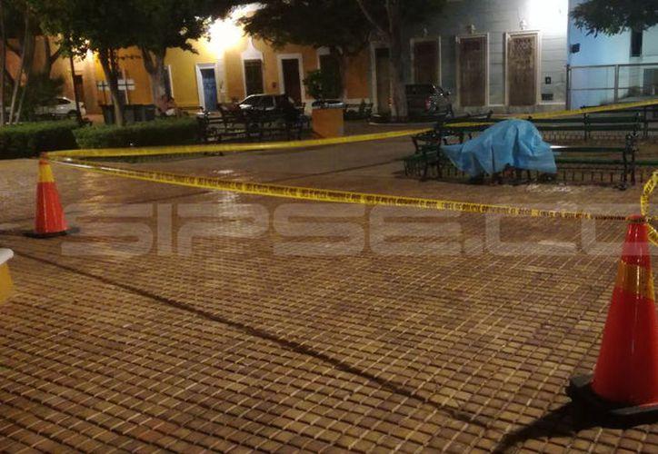 El cuerpo quedó sentado en la banca; autoridades acordonaron la zona. (SIPSE)