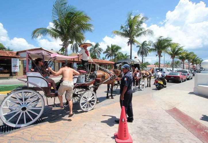 A pesar de que el servicio de paseo en calesas ya no es muy solicitado, aún hay turistas que recorren la isla montados en los carruajes. (Gustavo Villegas/SIPSE)