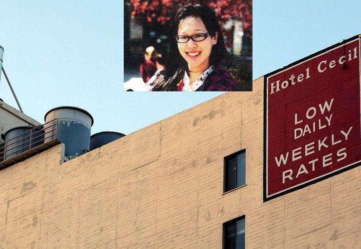El hotel donde encontraron el cuerpo de Lisa Lam cuya imagen aparece en el recuadro. (Agencias)