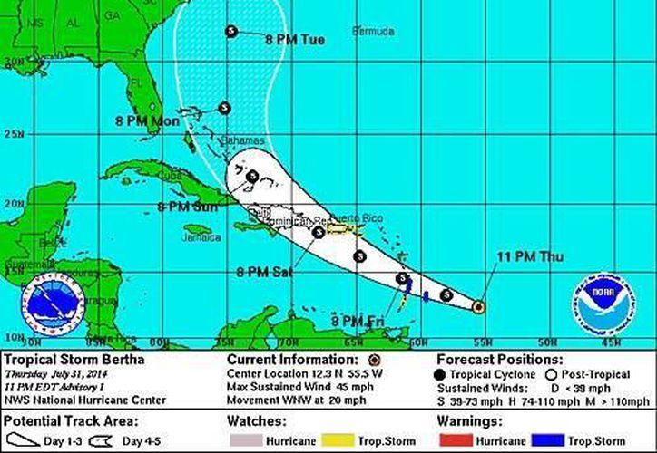 Trayectoria que seguiría la tormenta tropical 'Bertha', formada la noche del jueves en el Atlántico. (CNH)