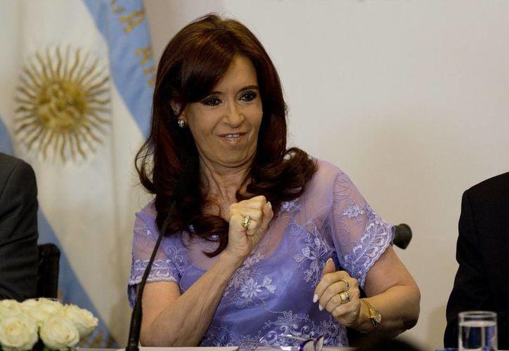 La presidenta de Argentina, Cristina Fernández, durante una conferencia en la Casa Rosada. (Agencias)