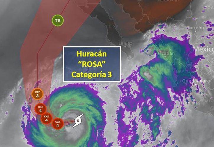"""""""Rosa"""" modificará gradualmente su trayectoria hacia la parte central de la Península de Baja California. (Conagua)"""