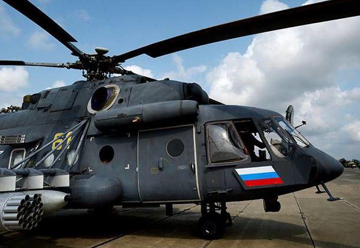 Los Mi-8AMTSh, apodados 'Terminator', están dotados con el sistema de lucha electrónica Vítebsk. (Sputnik / Vitaly Ankov)