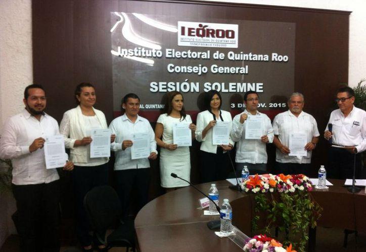 Los siete candidatos tomaron protesta hoy. (Benjamín Pat/SIPSE)