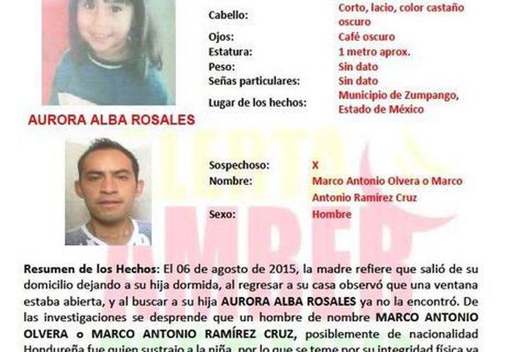 Información provista por Alerta Amber Yucatán sobre una menor sustraída en el Estado de México.