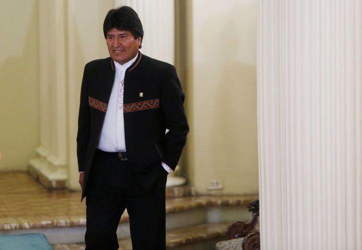 El presidente Evo Morales arriba a una conferencia de prensa en el palacio de gobierno de La Paz, Bolivia, el pasado 29 de febrero de 2016, donde habló de su expareja Gabriela Zapata. (Foto:AP/Juan Karita)