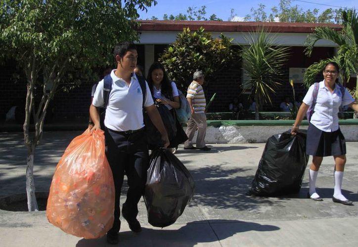 Como parte de las acciones se ha establecido la meta de juntar 4.5 toneladas de material PET. (Harold Alcocer/SIPSE)