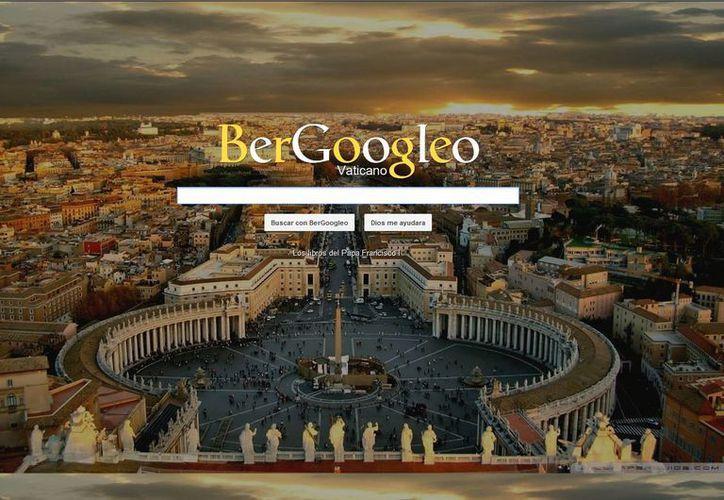 """En el buscador el clásico botón """"Voy a tener suerte"""" es sustituido por uno que dice """"Dios me ayudará"""". (bergoogleo.com)"""
