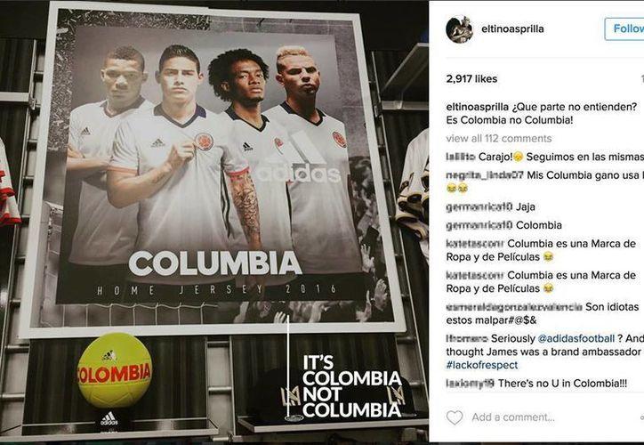 La imagen que desencadenó la ira de los colombianos contra Adidas, quienes utilizaron el #ItsColombiaNOTColumbia. (Facebook)