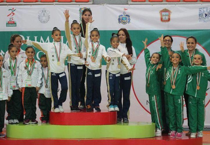 Yucatán ganó medalla de bronce en gimnasia rítmica por equipos en la Olimpiada Nacional. (Milenio Novedades)