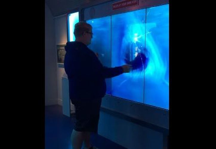 De manera repentina, el tiburón se acerca rápidamente y golpea el cristal. (Youtube)