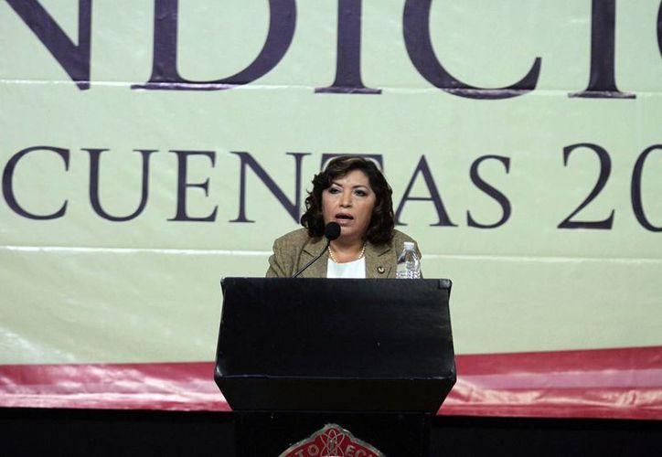 Mirna Manzanilla, directora del ITM, durante su informe de labores, ayer. (Amílcar Rodríguez)