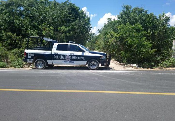 Los uniformados de Seguridad Pública acordonaron la zona. (Redacción/SIPSE)