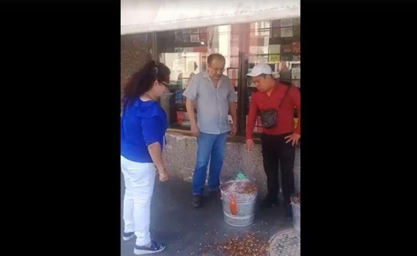 Un comerciante de Tepic pateó la bandeja de cacahuates de un vendedor ambulante y fue bautizado en las redes sociales como #LordCacahuates. (Impresión de pantalla)