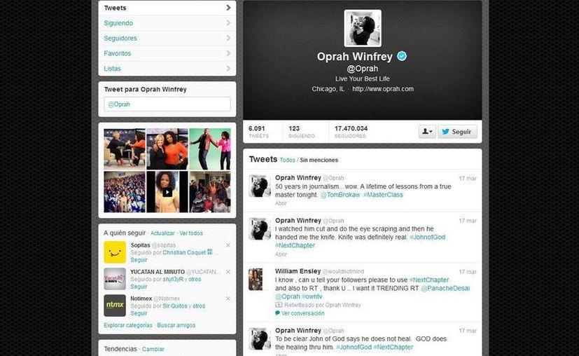 La presentadora de televisión Oprah Winfrey obtuvo la primera cuenta verificada. (twitter.com/Oprah)