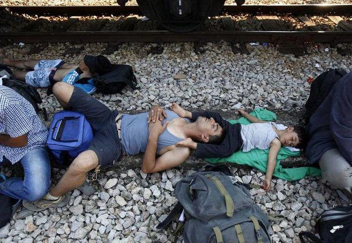 Migrantes sirios duermen bajo la sombra de un vagón mientras esperan un tren que los transporte a Serbia en la estación ferroviaria de la localidad de Gevgelija, en el sur de Macedonia, el sábado 15 de agosto de 2015. Macedonia es una de las principales rutas de tránsito de miles de migrantes que huyen del Oriente Medio en dirección a los Balcanes para llegar a países de la Unión Europea. (AP Foto/Boris Grdanoski)