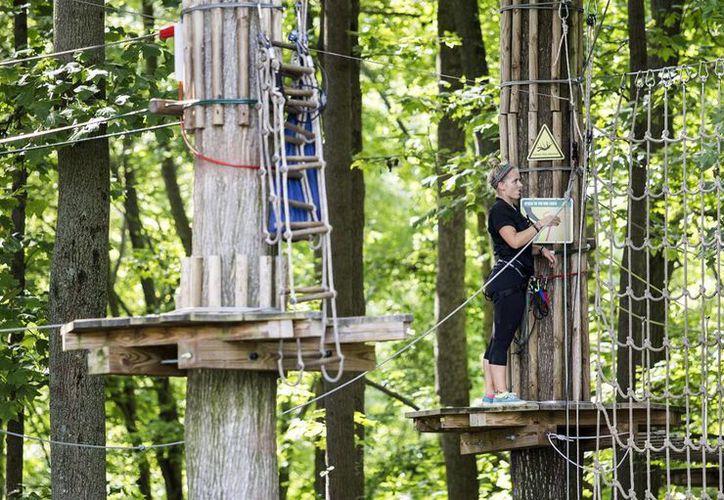 Una empleada en las instalaciones del parque donde una mujer, de 59 años, se cayó desde una altura de 10 metros, en Lums Pond State Park en Bear. (Kyle Grantham / El Wilmington News-Journal a través de AP)